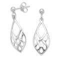 Sterling Silver Celtic Diamond shape Earrings - size: 20mm x 9.5mm 6194