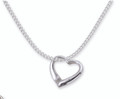 Sterling Silver Heart Necklace - Open heart - Kick Heart Pendant Including  41cm (16 inch) chain. 8029