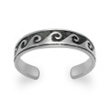 Sterling Silver Oxidised Wave Toe Ring - adjustable size 0997