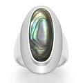 Sterling Silver Ring with wide band, Paua shell Oval stone and large silver surround - Size: 30mm x 15mm 2172PS