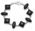Silver squares & ovals Onyx Bracelet good size & weight 3407ON