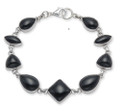 Sterling Silver Onyx Mixed shapes stones Bracelet 3411ON