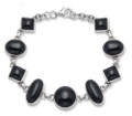 Sterling Silver Mixed shapes Onyx Bracelet good size and weight 3415ON