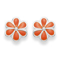 Silver Enamel Daisy Stud Earrings Orange 5578OR