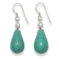 Silver Turquoise & Freshwater Pearl drop earrings 4256E1