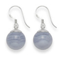 Silver Blue Lace agate ball drop earring - ball size: 12mm 7335