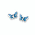 Sterling Silver Turquoise & Blue Enamel Butterfly Stud. Size: 5mm x 7mm  CLERANCE LINE LOWER PRICE 5606BL