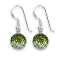Silver Green & clear Crystal Disco 9mm ball drop Earrings 4810DROP