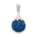 Silver Blue Crystal 14mm Ball Pendant with ornate top 4811PEND-BL