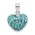 Heart pendant 11 x 14mm - many tiny crystals - Light Blue 4805LB