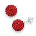 Silver, Crystal ball stud 8mm, many tiny crystals - Red 4601RED