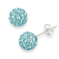 Silver, Crystal ball stud 6mm, many tiny crystals - Pale Turquoise 4600LB