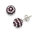 Silver, Crystal ball stud 8mm, many tiny crystals - Purple & clear 4601MX