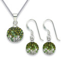"Silver Green & clear Disco ball pendant, drops, 8499/18"" chain & B04 box 4810SET"