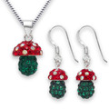 Crystal Mushroom Pendant and Earrings 4812SET LAST FEW REMAINING