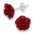 Sterling Silver Red Rose stud 12mm - synthetic rose 4651RED