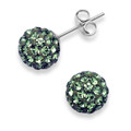 Silver Crystal ball stud 10mm, many tiny crystals -BOTTLE GREEN 4604GRN