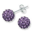 Sterling Silver, Crystal ball stud 8mm, many tiny crystals - Amethyst colour 4601LAV