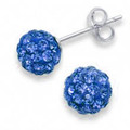 Silver LARGE Crystal ball stud 10mm, many tiny crystals - Royal Blue 4604BLUE