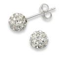Silver, Crystal ball stud 6mm, many tiny crystals - Clear 4600CL