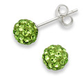 Sterling Silver Crystal ball stud 6mm, many tiny crystals - Bright Peridot Green - SIZE: 6mm 4600GRN