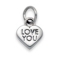 """Sterling Silver """" LOVE YOU"""" Heart Pendant 9mm x 9mm x 2.5mm deep 1.5gms 8177"""
