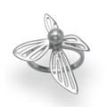 Sterling Silver Abstract Design Ring with freshwater pearl 3.45 gms.2281  Only size 58 Available