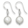 Silver natural Freshwater Pearl drop earrings - 10mm -  White 7014WH LAST PAIR CLEARANCE PRICE