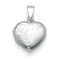 Silver opening Heart Locket with flower engraving 3gms.17mm x 17mm 8021