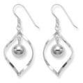 Sterling Silver Ovate twist with dangling ball drop earring - Size: 16mm x 25mm 2.7gms. 6190