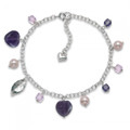 Silver, Amethyst hearts,Pink Freshwater Pearl & silver leaf bracelet - Adjustable length 4456BL1  Greatly Reduced to Clear