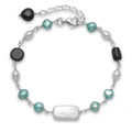 Silver, Turquoise coloured Freshwater Pearl and Onyx Bracelet - adjustable length 4255BL
