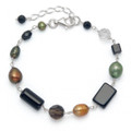 Silver Onyx Bracelet with Smokey Crystal, Green & bronze Freshwater Pearl - adjustable length 4120BL  Further Reduction to Clear