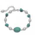Silver Turquoise and Freshwater Pearl Bracelet - adjustable length 4256BL