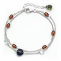 Silver, Citrine colour, Green & Smokey crystal double chain Bracelet - Adjustable length - 4110BL  Further Reduction to Clear, Now Over Half Price