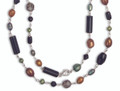 "Silver Onyx Necklace with Smokey Crystal, Green & bronze Freshwater Pearl - length 20"". 4120NL"