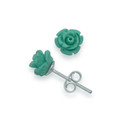 Sterling Silver, Small Turquoise colour Rose stud 8mm - synthetic 4650TQ