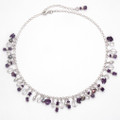 "Sterling Silver Amethyst Necklace with Crystal, Pearl & silver beads. Adjustable 17"" - 19"" 4360"
