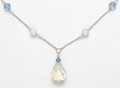 "Sterling Silver Faux Moonstone & blue Crystals  Necklace. Adustable 17"" - 19"" 4300NL FURTHER REDUCTION"