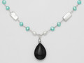 "Silver Turquoise & white Freshwater Pearl Necklace with Onyx - adjustable length 16"" - 18"" 4255NL"