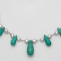 "Sterling Silver Turquoise and Freshwater Pearl Necklace. Adjustable 16"" - 18"" 4256NL FURTHER REDUCTION"