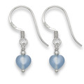 Sterling Silver Tiny Silver & Light Blue Agate Heart drop earring.SIZE: 6mm 7041LB