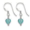 Sterling Silver Tiny Silver & Turquoise colour Agate Heart earrings.SIZE: 6mm 7041TQ