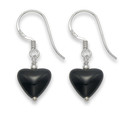 Sterling Silver Onyx & Silver beads small Heart Drop earrings 9mmx 10mm 7043ON