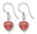 Sterling Silver Cherry Quartz & Silver beads small Heart Drop earrings 9mm x 10mm 7043CQ