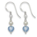 Sterling Silver Tiny Light Blue Agate Heart, silver & Freshwater Pearl beads earring. Heart size: 6mm 7042LB
