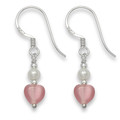 Sterling Silver Tiny Pink Agate Heart, silver & Freshwater Pearl beads earring. Heart size: 6mm 7042PK