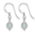 Sterling Silver Faux Moonstone Ball & Silver small drop Earrings.Ball size: 6mm 7004MS