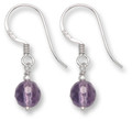 Sterling Silver Faceted Amethyst Ball & Silver small drop Earrings. Ball size: 6mm 7004AME