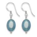 Sterling Silver Wedgewood Blue Agate Oval & Silver beads earrings. Size: 16 x 9mm excluding wires 7055BL